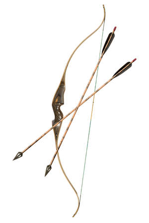 hunting bow and arrows isolated on white