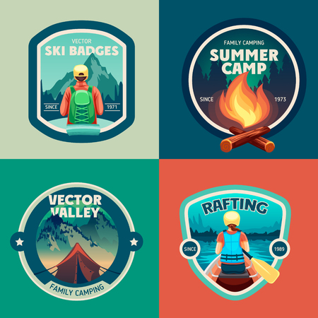 Ilustración de Set of outdoor adventure camp labels and badges - Imagen libre de derechos