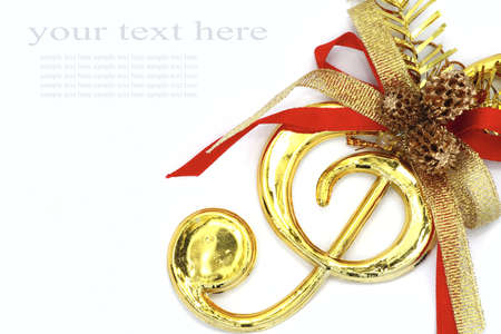 Christmas with musical signs and color ribbon on white background.