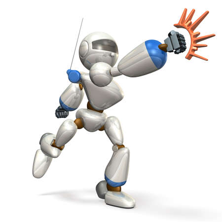 White robot is hit ,isolated, computer generated image,