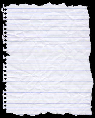 A piece of torn lined writing paper from a wire bound notebook.