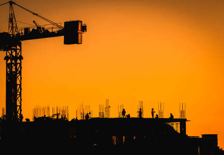 Photo for Construction site with people,silhouette style and far shoot. - Royalty Free Image