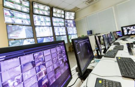 Photo pour The control room of the subway traffic. Computer monitors. - image libre de droit