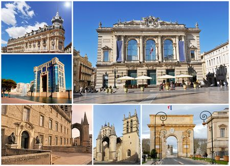 composite image with monuments in Montpellier, Languedoc Roussillon, France