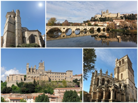 gothic architecture of Beziers cathedra and church, Languedoc, France