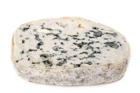 Piece of blue cheese fourme d'Ambert in front of white background