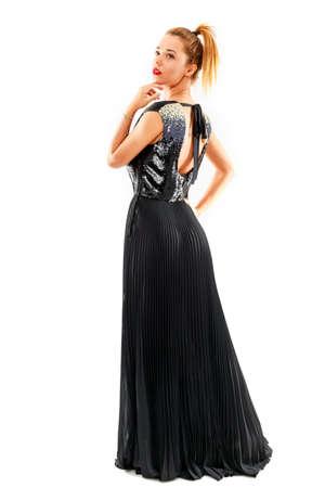 Photo pour Young beautiful woman with fashion dress on white background - image libre de droit