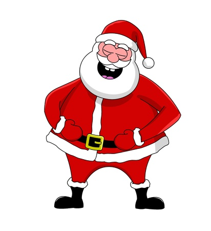 Funny laughing Santa Claus, isolated