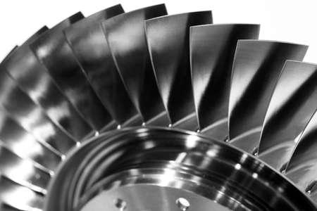 Photo pour Steel blades of turbine propeller. Close-up view. In B/W - image libre de droit