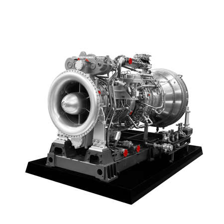 Photo pour Gas turbine aircraft engine isolated on white background - image libre de droit