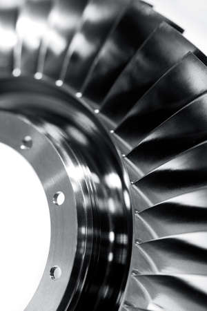 Photo pour Steel blades of turbine propeller. Close up view. In B/W. Selected focus on foreground - image libre de droit