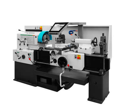 Manufacturing CNC professional lathe machine isolated on a white background. Industrial concept.