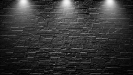 Photo pour Highly contrasted spotlights on an outdoor black brick wall - image libre de droit