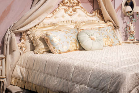 Photo for luxury retro classic style bedroom, Interior of a hotel bedroom - Royalty Free Image