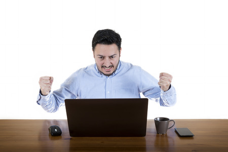 Greedy Businessman Looking At Laptop Screen Isolated On White Background