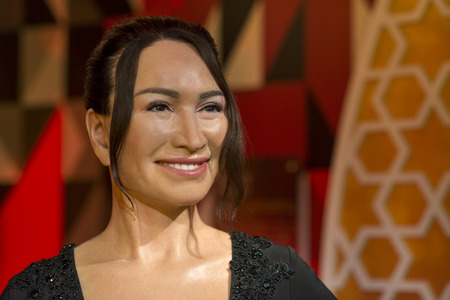 Wax sculpture of Demet Akbag, a Turkish theatre and film actress on display at Madame Tussauds Istanbul.