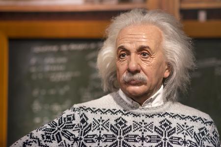 Foto de Wax sculpture of Albert Einstein at Madame Tussauds Istanbul. Einstein was a German-born theoretical physicist who developed the theory of relativity. - Imagen libre de derechos
