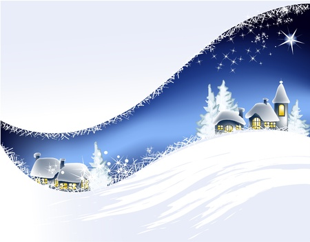Christmas landscape with little town
