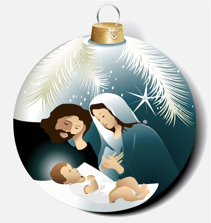 Illustration for Christmas ball with Holy Family  - Royalty Free Image