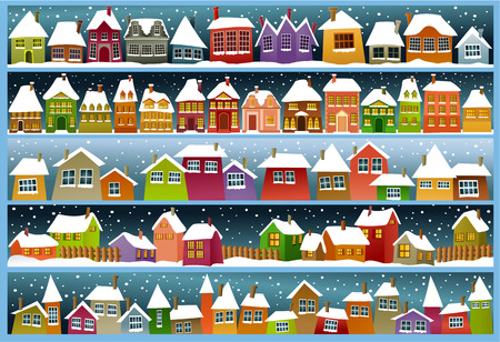 Illustration pour Winter banners with cartoon houses - image libre de droit