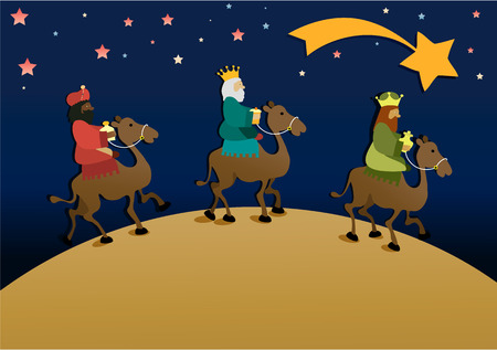 Illustration pour Three wise men bring presents to Jesus. Three Wise Men, the Three Kings, Melchior, Gaspard and Balthazar - image libre de droit