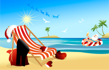 Illustration for Tropical Christmas background with relaxing Santa Claus - Royalty Free Image