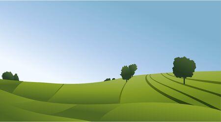 Illustration pour Rural landscape with green fields - image libre de droit