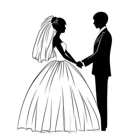 silhouettes of the bride and groom in classical dress