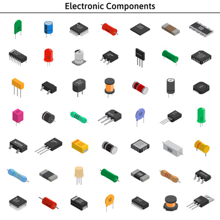 Illustration pour Big vector set of izometric electronic components. Capacitors, r - image libre de droit