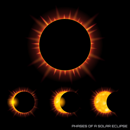 Vector phases of the total solar eclipse on dark background.