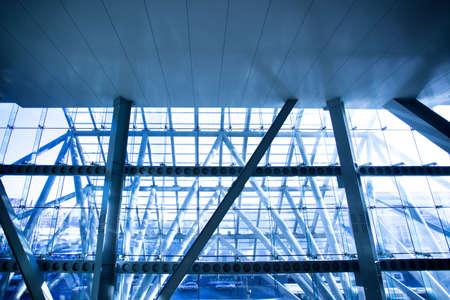 Futuristic business center window construction close-up