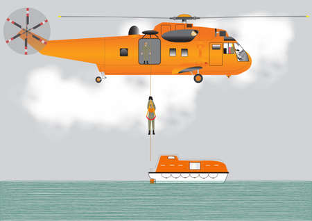 An Orange Search and Rescue Helicopter lowering a Crewman onto a lifeboat