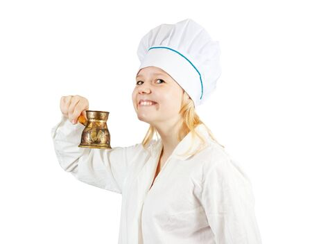 cook woman in toque with  cezve over  white  background