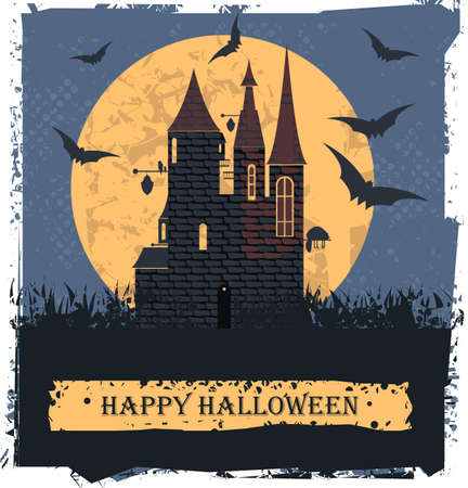 Happy Halloween card  with Stylis Witch Castle for your designs.  Vector image.