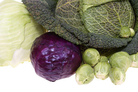 variable types of cabbages isolated on white background