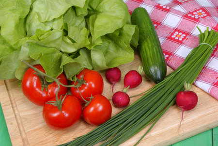 variable types of vegetables on salad on background
