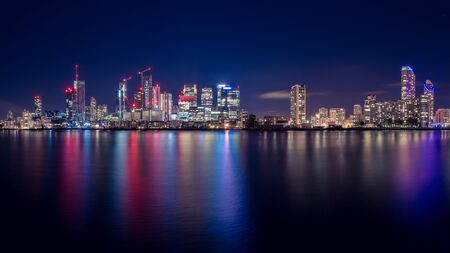 Photo for Night Time Skyline View of Modern Business District Canary Wharf in London - Royalty Free Image