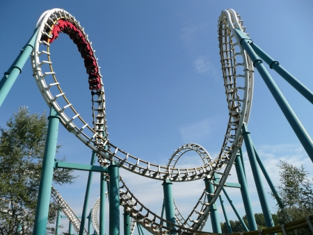 Photo for Rollercoaster in amusement park in summer - Royalty Free Image