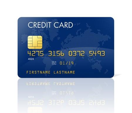 Blue credit card with world map