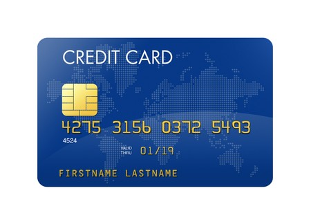 Blue credit card with world map - isolated on white