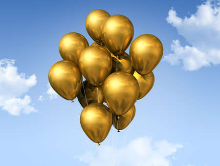gold air balloons floating on a blue sky