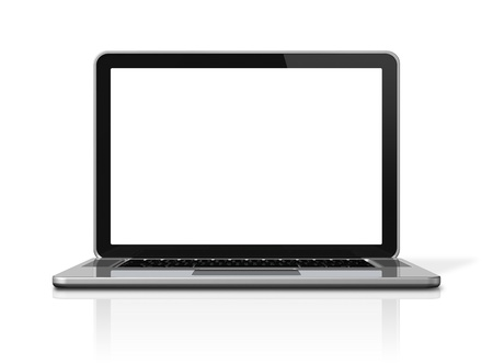 3D blank laptop computer isolated on white with 2 clipping path : one for global scene and one for the screen