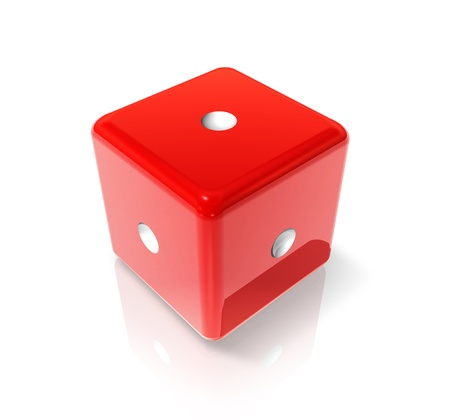 Photo pour 3D red dice with one dot on all sides - image libre de droit