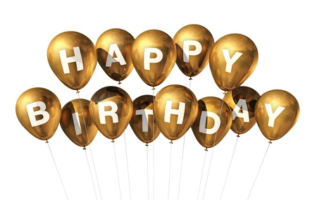 3D gold Happy Birthday balloons isolated on white background