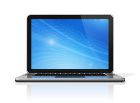 3D laptop computer isolated on white: one for global scene and one for the screen