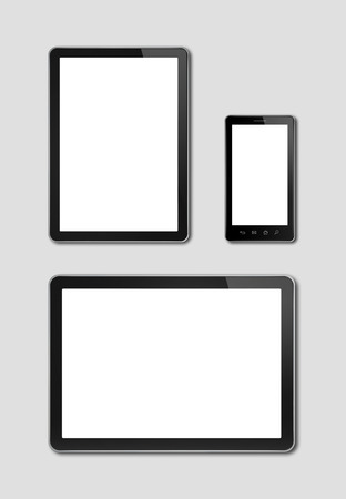 smartphone and digital tablet pc mockup template. grey background
