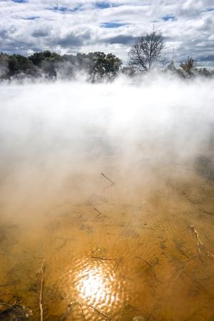 Hot springs lake in Rotorua park, New Zealand