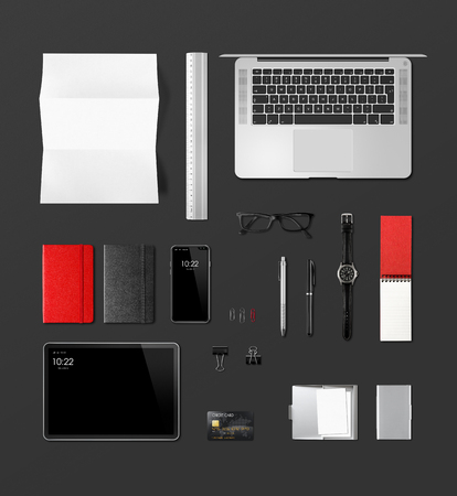 Photo pour Office desk branding mockup top view isolated on black. Blank space - image libre de droit