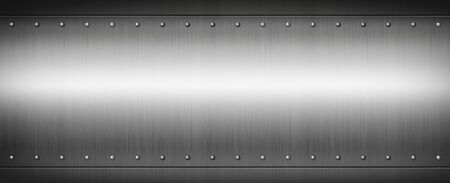 Photo pour Steel riveted brushed plate background texture. Metal banner background. - image libre de droit