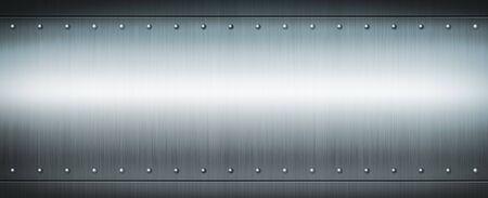 Photo pour Steel riveted brushed plate background texture. Blue Metal banner background. - image libre de droit